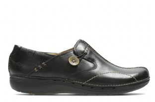 Clarks Womens Un Loop Black Leather Shoes